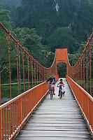 Bridge accross the river near vang Vieng, Laos
