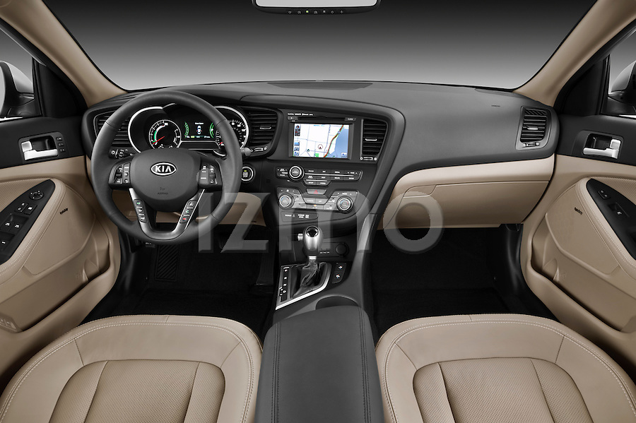 Straight dashboard view of a 2011 Kia Optima Hybrid .