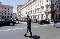Roma 28 Aprile 2013.Palazzo Chigi  presidiato dalle polizia, dopo che  sono stati feriti due carabineri da un uomo poi arrestato.
