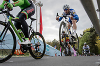 Tom Boonen (BEL/Quick-Step Floors) 'jumping' into retirement at the Tom Boonen farewell race/criterium 'Tom Says Thanks!' in Mol/Belgium.