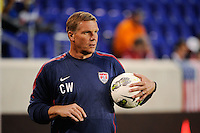 United States goalkeeper coach Chris Woods. The men's national team of the United States (USA) was defeated by Ecuador (ECU) 1-0 during an international friendly at Red Bull Arena in Harrison, NJ, on October 11, 2011.