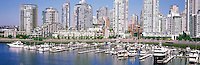 "Vancouver, BC, British Columbia, Canada - City and Downtown Skyline at Yaletown and ""False Creek"", Summer - Panoramic View"