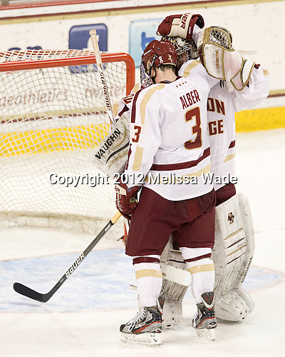 Patch Alber (BC - 3), Chris Venti (BC - 30) - The Boston College Eagles defeated the Providence College Friars 7-0 on Saturday, February 25, 2012, at Kelley Rink at Conte Forum in Chestnut Hill, Massachusetts.