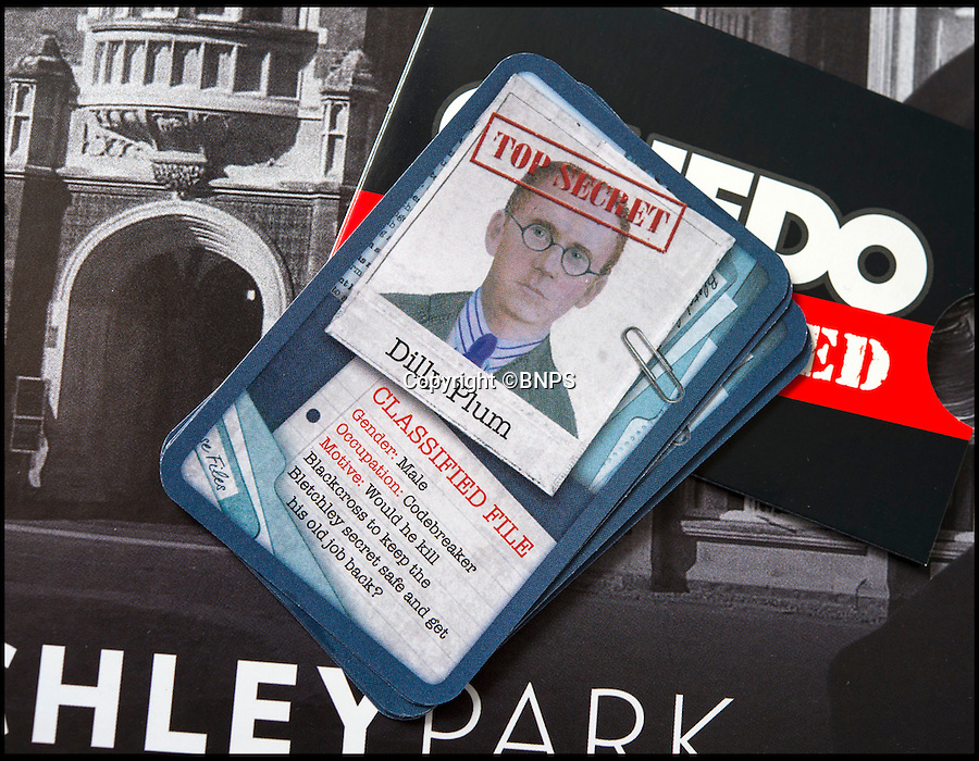 BNPS.co.uk (01202 558833)<br /> Pic: PhilYeomans/BNPS<br /> <br /> Bletchley veteran Dilly Knox's character card.<br /> <br /> Immitation game - Top Secret Bletchley Park gets its own murder mystery game in time for Xmas.<br /> <br /> Featuring characters based on the real boffins from the wartime establishment, including Bombe machine operator Ruth Bourne who is delighted to be immortalised in the new game.<br /> <br /> Cluedo: Bletchley Park follows the same principles as the classic game everyone knows and loves, but with an 'enigmatic' twist.<br /> <br /> During the war the country estate in Buckinghamshire housed mathematicians, linguists, chess champions, egyptologists and anthropologists all secretly working to crack Enigma, the German code machine leaders in Berlin thought was unbreakable.<br /> <br /> It is said the 'ultra' intelligence produced at Bletchley shortened the war by between two and four years and saved thousands of lives.<br /> <br /> The game is now on sale in Bletchley Park's gift shop and online, priced &pound;29.99.