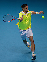 Robin Soderling (SWE) (4)  against Roger Federer (SUI) (1) in their Group B  match. Roger Federer beat Robin Soderling 7-6 6-3..International Tennis - Barclays ATP World Tour Finals - O2 Arena - London - Day 5 - Thu 25 Nov 2010..© Frey - AMN Images, Level 1, Barry House, 20-22 Worple Road, London, SW19 4DH.Tel - +44 208 947 0100.Email - Mfrey@advantagemedianet.com.Web - www.amnimages.photshelter.com