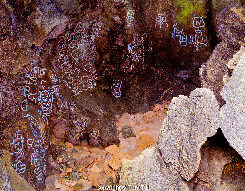 Pictographs in a sea cave  Near Arecibo, Puerto Rico  Tuna Point  Carib or Caguana rock art  Limestone formations