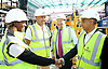 Sadiq Khan <br /> Mayor of London<br /> visits the Boxpark Croydon site adjacent to East Croydon station, Croydon, Surrey, Great Britain <br /> 1st September 2016 <br /> <br /> shakes hands with with Sian Anderson (from BBC 1Xtra)<br /> <br /> with the CEO of Boxpark Roger Wade and <br /> <br /> and Tony Newman - leader of Croydon Council in the background <br /> <br /> to promote the Boxpark Opening Festival on 29th/30th October 2016 <br /> <br /> <br /> <br /> Photograph by Elliott Franks <br /> Image licensed to Elliott Franks Photography Services