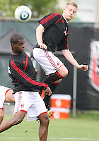 Ignazio Abate and Dominic Adiyiah of AC Milan during a practice session at RFK practice facility in Washington DC on May 24 2010.