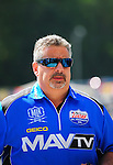 May 6, 2012; Commerce, GA, USA: NHRA crew member for top fuel dragster driver Brandon Bernstein during the Southern Nationals at Atlanta Dragway. Mandatory Credit: Mark J. Rebilas-