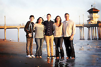 12 March 2013: Jim, Sarah, Haley, Alec and Cam Cwiakala family photo session at the beach in Huntington Beach, CA.  Personal Use Only.