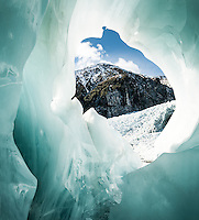 Fantastic colours, shapes and patterns of ice cave on Franz Josef Glacier, Westland Tai Poutini National Park, UNESCO World Heritage Area, West Coast, New Zealand, NZ