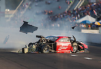 Sep 23, 2016; Madison, IL, USA; NHRA pro mod driver Jay Payne loses control as he crashes during qualifying for the Midwest Nationals at Gateway Motorsports Park. Payne walked away from the accident. Mandatory Credit: Mark J. Rebilas-USA TODAY Sports