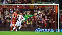 LIVERPOOL, ENGLAND - Thursday, October 4, 2012: Udinese Calcio's Antonio Di Natale scores the first goal against Liverpool during the UEFA Europa League Group A match at Anfield. (Pic by David Rawcliffe/Propaganda)