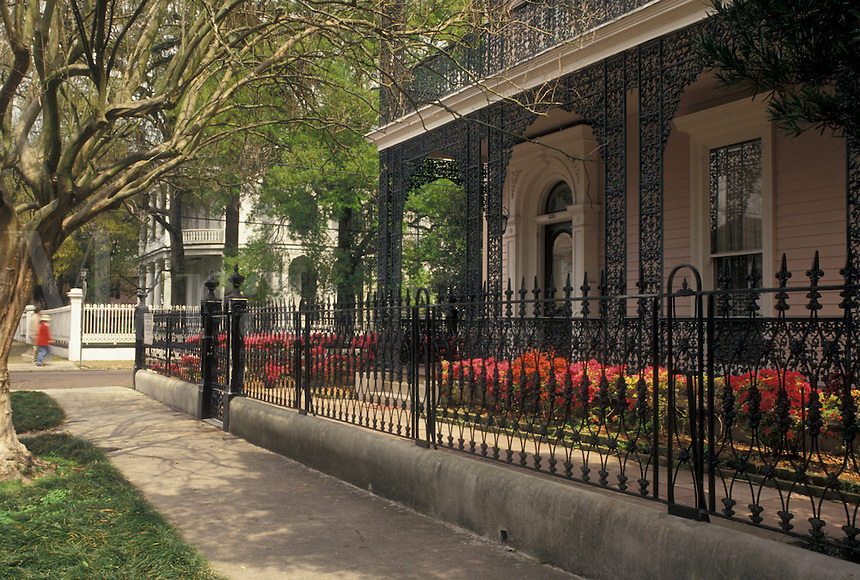New Orleans, mansion, Garden District, Louisiana, LA, Ornate mansion with cast-iron railings in the Garden District in New Orleans.
