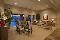 Open floorplan dining area leads to living room in modern home