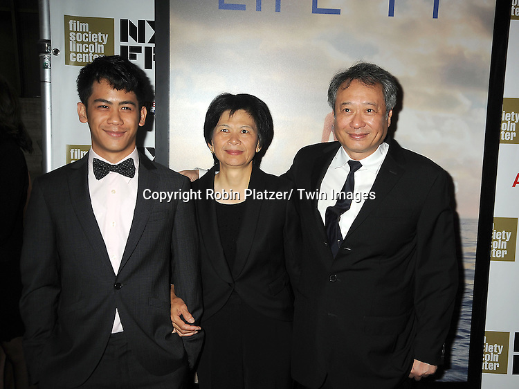 """director Ang Lee and family attends the 50th Annual New York Film Festival Opening Night Gala presentation of """"Life of Pi"""" starring Suraj Sharma and directored by Ang Lee on September 28, 2012 in New York City. The screening was at Alice Tully Hall at Lincoln Center."""