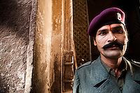 Portrait of a Guard at Jodphur Fort, Rajhastan, India