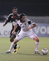 Real Salt Lake forward Fabian Espindola (7) keeps possession of the ball against DC United forward Luciano Emilio (11)    DC United defeated Real Salt Lake 2-1 to advance to the round of 16 of the  U.S. Open Cup at RFK Stadium, Wednesday  June 2  2010.