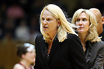 11 February 2013: Maryland head coach Brenda Frese (left) is ejected late in the game with assistant Tina Langley (right) taking over. The Duke University Blue Devils played the University of Maryland Terrapins at Cameron Indoor Stadium in Durham, North Carolina in an NCAA Division I Women's Basketball game. Duke won the game 71-56.