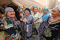 Uzbekistan, Khiva. Women in traditional clothes.