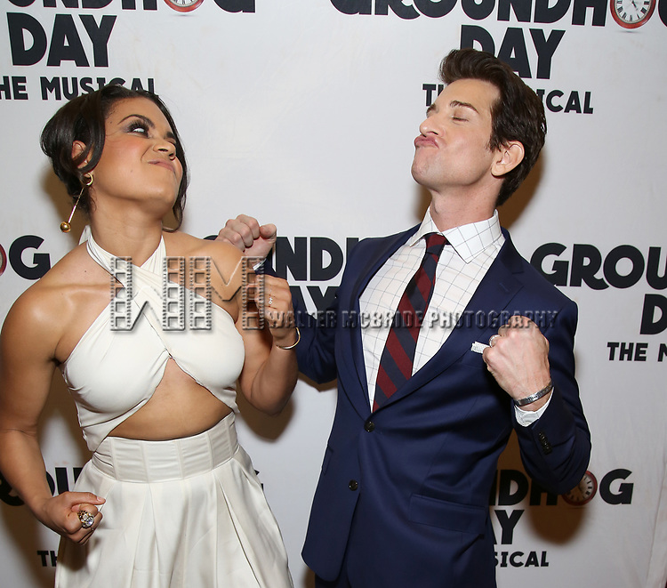 Barrett Doss and Andy Karl attend the Broadway Opening Night After Party for 'Groundhog Day' at Gotham Hall on April 17, 2017 in New York City.