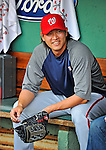 8 June 2012: Washington Nationals pitcher Chien-Ming Wang awaits the start of play between the Washington Nationals and the Boston Red Sox at Fenway Park in Boston, MA. The Nationals defeated the Red Sox 7-4 in the opening game of their 3-game series. Mandatory Credit: Ed Wolfstein Photo