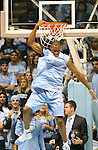 "13 October 2006: UNC's Reyshawn Terry entertains the crowd with a reverse dunk. The University of North Carolina at Chapel Hill Tarheels held their first Men's and Women's basketball practices of the season as part of ""Late Night with Roy Williams"" at the Dean E. Smith Center in Chapel Hill, North Carolina."
