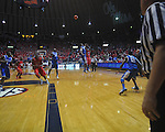 Ole Miss guard Chris Warren (12) makes a game winning three-point shot over Kentucky's Terrence Jones (3)  with 2.9 seconds remaining at the C.M. &quot;Tad&quot; Smith Coliseum in Oxford, Miss. on Tuesday, February 1, 2011. Ole Miss won 71-69.
