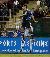 Steven Beitashour of Earthquakes battles for the ball against Kansas City at Buck Shaw Stadium in Santa Clara. California on October 1st, 2011.  San Jose Earthquakes tied Sporting Kansas City, 1-1.