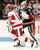 Wade Megan (BU - 18), Chris Rawlings (NU - 37) - The visiting Northeastern University Huskies defeated the Boston University Terriers 6-5 on Friday, January 18, 2013, at Agganis Arena in Boston, Massachusetts.