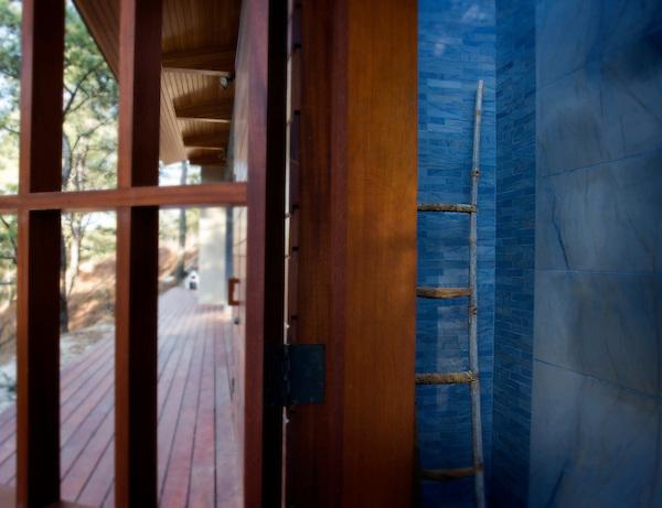 """Blue Macauba Shower in 12"""" x 12"""" tiles and 2"""" x 6"""" bricks"""