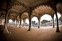 The colonnade in the Red Fort of Agra, a UNESCO World Heritage site.  The Shah Jahan and other great Mughals governed from here. (Photo by Matt Considine - Images of Asia Collection)