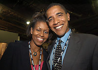 BOSTON, MA - July 26, 2004: Then Illinois State Senator Barack Obama and his wife Michelle Obama backstage during the 2004 Democratic National Convention in Boston.
