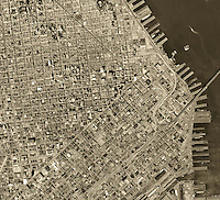 historical aerial photograph Financial District, San Francisco, California, 1968