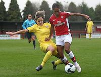 Lucie Martinkova of Sparta Prague tackles Rachel Yankey - Arsenal Ladies vs Sparta Prague - UEFA Women's Champions League at Boreham Wood FC - 11/11/09 - MANDATORY CREDIT: Gavin Ellis/TGSPHOTO - Self billing applies where appropriate - Tel: 0845 094 6026