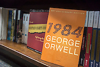 "Copies of Geroge Orwell's book ""1984"" are seen on the shelves of a bookstore in New York on Thursday, June 20, 2013. Sales of the George Orwell novel of a totalitarian future, ""1984"" have soared since the news that the U.S. government has extensive electronic and digital surveillance programs in place.  (© Richard B. Levine)"