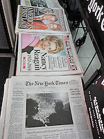 Headlines of New York newspapers on Monday, March 7, 2016 report on the previous day's death of former U.S. First Lady Nancy Reagan who passed away at the age of 94. (© Richard B. Levine)