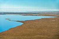 Beaufort Sea meets the coast of the Arctic National Wildlife Refuge coastal plains in Alaska's Arctic.