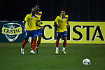 Ecuador's player Narciso Mina ( L) celebrates his goal with his teammates after scoring the first goal against Chile during their friendly match at the Citi-Field Stadium in New York, August 15, 2012. Photo by Eduardo Munoz Alvarez / VIEW.