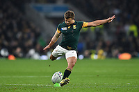 Patrick Lambie of South Africa kicks for the posts. Rugby World Cup Semi Final between South Africa and New Zealand on October 24, 2015 at Twickenham Stadium in London, England. Photo by: Patrick Khachfe / Onside Images