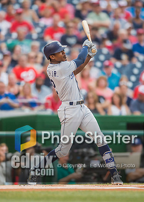 22 July 2016: San Diego Padres outfielder Melvin Upton Jr. in action against the Washington Nationals at Nationals Park in Washington, DC. The Padres defeated the Nationals 5-3 to take the first game of their 3-game, weekend series. Mandatory Credit: Ed Wolfstein Photo *** RAW (NEF) Image File Available ***