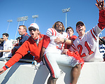 Ole Miss running back Jeff Scott (3) celebrates with fans vs. Arkansas at War Memorial Stadium in Little Rock, Ark. on Saturday, October 27, 2012. Ole Miss won 30-27...