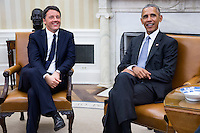 US President Barack Obama (R) and Italian Prime Minister Matteo Renzi (L) talk in the Oval Office after an official arrival ceremony on the South Lawn of the White House in Washington DC, USA, 18 October 2016. Later today President Obama and First Lady Michelle Obama will host their final state dinner featuring celebrity chef Mario Batali and singer Gwen Stefani performing after dinner. <br /> Credit: Shawn Thew / Pool via CNP /MediaPunch