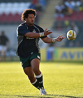 Opeti Fonua of Leicester Tigers passes the ball during the pre-match warm-up. Aviva Premiership match, between Leicester Tigers and Wasps on November 1, 2015 at Welford Road in Leicester, England. Photo by: Patrick Khachfe / Onside Images