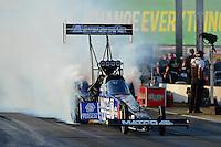 May 18, 2012; Topeka, KS, USA: NHRA top fuel dragster driver Antron Brown during qualifying for the Summer Nationals at Heartland Park Topeka. Mandatory Credit: Mark J. Rebilas-