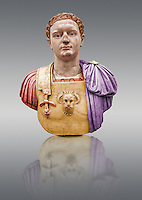 Painted colour verion of Roman marble sculpture bust of Emperor Domitian  81-96 AD, inv 6061, Museum of Archaeology, Italy