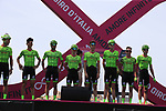 Cannondale Drapac at sign on before Stage 1 of the 100th edition of the Giro d'Italia 2017, running 206km from Alghero to Olbia, Sardinia, Italy. 4th May 2017.<br /> Picture: Eoin Clarke | Cyclefile<br /> <br /> <br /> All photos usage must carry mandatory copyright credit (&copy; Cyclefile | Eoin Clarke)