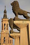 Piedra Bridge Entrance and the Basilica of Our Lady of Pilar Church, Zaragoza - Saragossa, Aragon, Spain