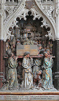 Carrying the relics of St Firmin to Amiens, Gothic style polychrome high-relief sculpture in the second intercolumniation of the South side of the choir screen, 1490-1530, commissioned by canon Adrien de Henencourt, depicting the life of St Firmin, at the Basilique Cathedrale Notre-Dame d'Amiens or Cathedral Basilica of Our Lady of Amiens, built 1220-70 in Gothic style, Amiens, Picardy, France. St Firmin, 272-303 AD, was the first bishop of Amiens. Amiens Cathedral was listed as a UNESCO World Heritage Site in 1981. Picture by Manuel Cohen