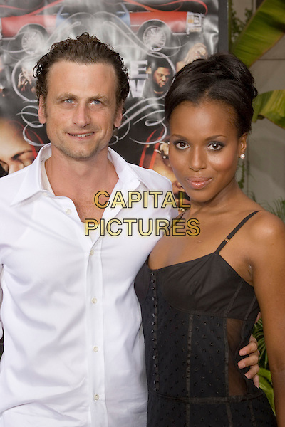 "DAVID MOSCOW & KERRY WASHINGTON.At the ""Hustle & Flow"" Los Angeles Film Premiere,.held at the Arclight Cinerama Dome, .Hollywood, California, USA, 20th July 2005..half length black dress.Ref: ADM.www.capitalpictures.com.sales@capitalpictures.com.©Zach Lipp/AdMedia/Capital Pictures."